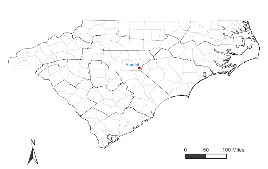 Richmond County Nc Map.Cppp Hamlet Nc Weather Station